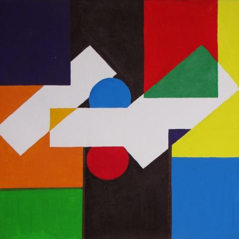 Geometrische compositie schilderijen atelier herman mes